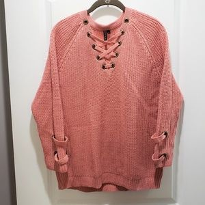 Poof Apricot Loose Knit LS Sweater Size L